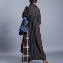Load image into Gallery viewer, For Work chocolate plaid oversized spring lapel patchwork cardigan
