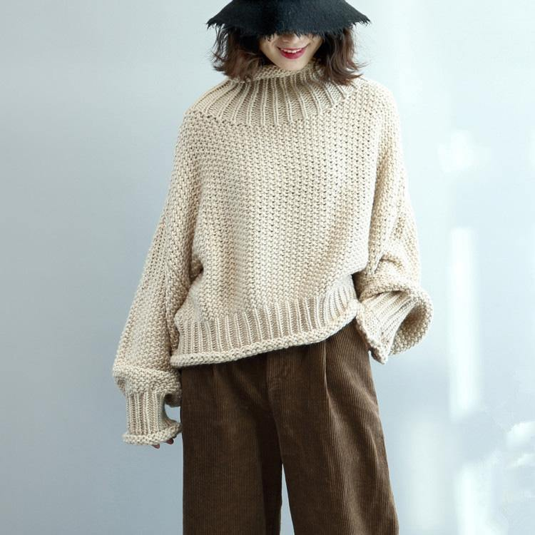 For Work high neck Sweater weather Upcycle beige Big knit tops fall
