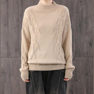 For Work khaki knit blouse Loose fitting knitted blouse high neck