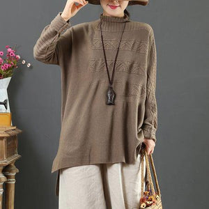 For Work light chocolate knit top silhouette low high design plus size clothing high neck knit sweat tops