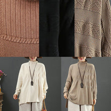 Load image into Gallery viewer, For Work light chocolate knit top silhouette low high design plus size clothing high neck knit sweat tops