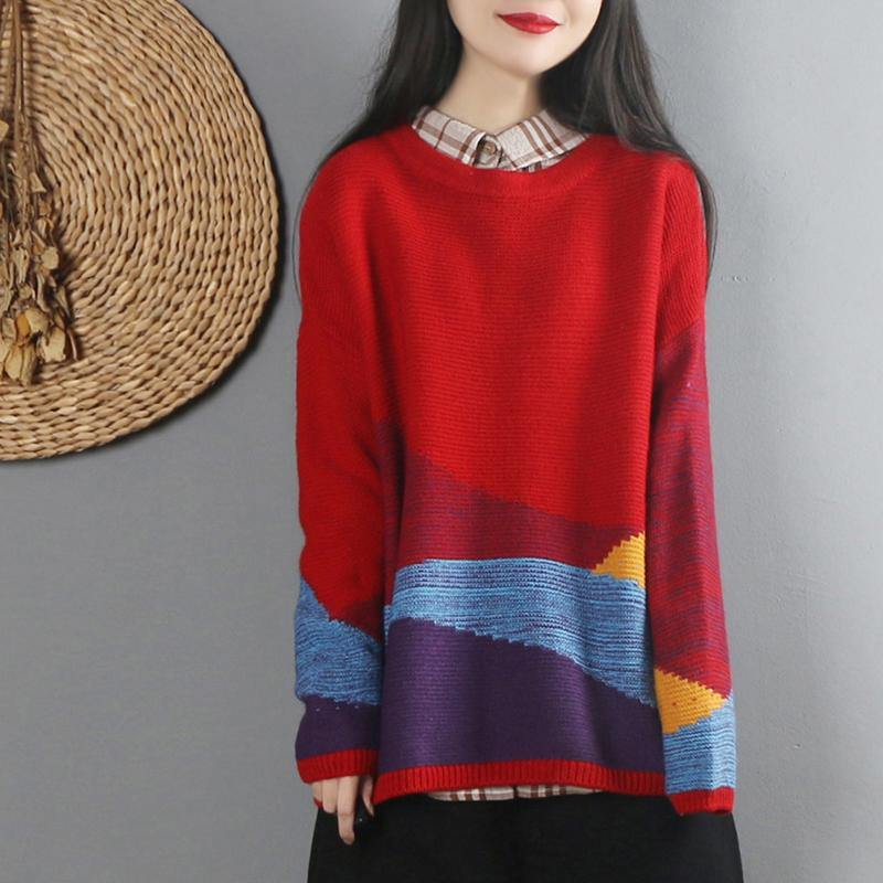 For Work red knitted top oversized o neck knitted blouse long sleeve