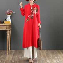 Load image into Gallery viewer, For Work stand collar Sweater embroidery dresses Street Style red wild DIY knit dresses