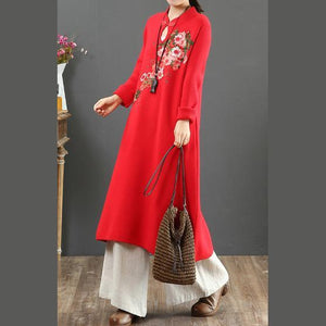 For Work stand collar Sweater embroidery dresses Street Style red wild DIY knit dresses