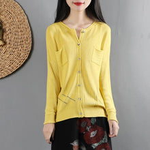 Laden Sie das Bild in den Galerie-Viewer, For Work yellow clothes For Women casual o neck knitwear long sleeve