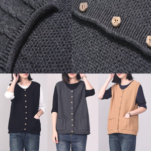 For v neck sleeveless knitted clothes trendy plus size pockets sweaters black