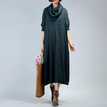 Load image into Gallery viewer, For work Sweater dresses refashion patchwork blackish green knit dresses