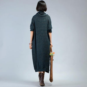 For work Sweater dresses refashion patchwork blackish green knit dresses