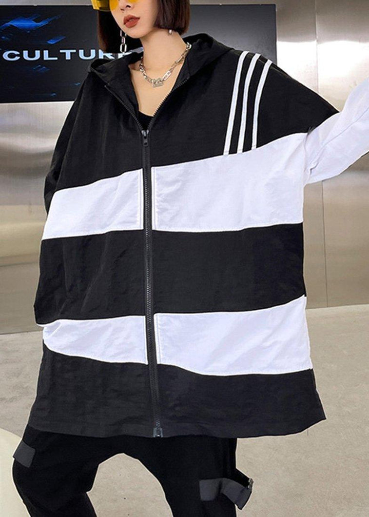 French Black White Cotton Cinched zippered Hoodies Outwear Spring