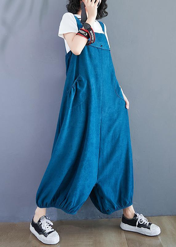 French Blue Oversized Spring Jumpsuit Pants Work Outfits Wide Leg Pants