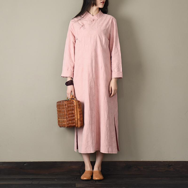 French Chinese Button cotton spring clothes For Women linen pink Dresses