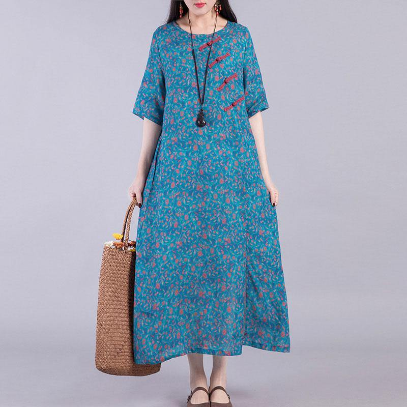 French Chinese Button linen outfit Runway blue prints Dresses summer