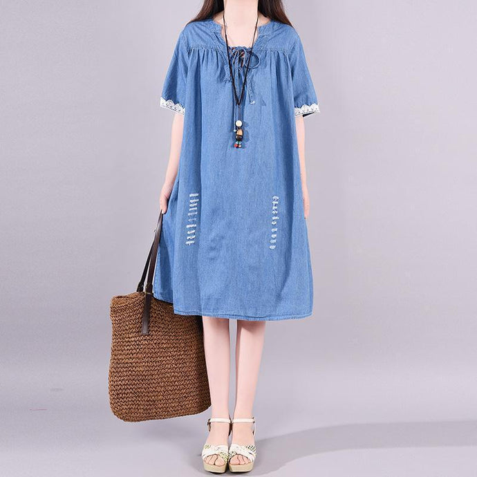 French Cotton quilting dresses Fitted Casual Short Sleeve Loose Denim Drawstring Dress