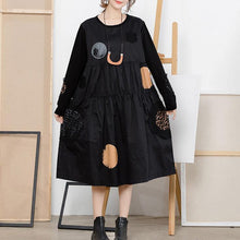 Load image into Gallery viewer, French Cotton tunic top Plus Size print Life black dotted Midi Dresses
