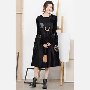 French Cotton tunic top Plus Size print Life black dotted Midi Dresses