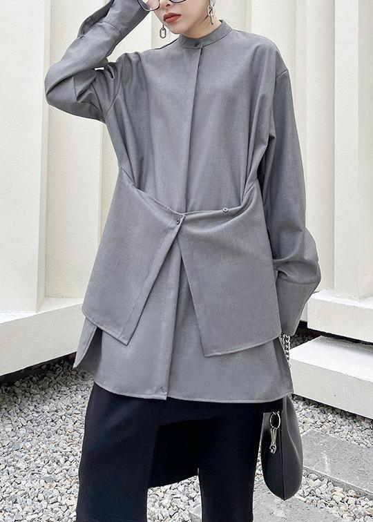 French Grey asymmetrical design  Long sleeve Spring Blouses