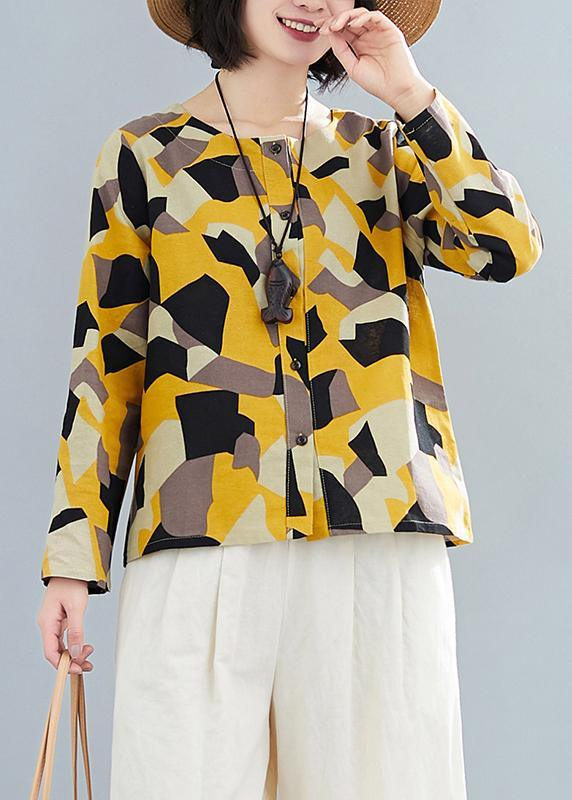 French O Neck Button Down Shirts Inspiration Yellow Geometric Top