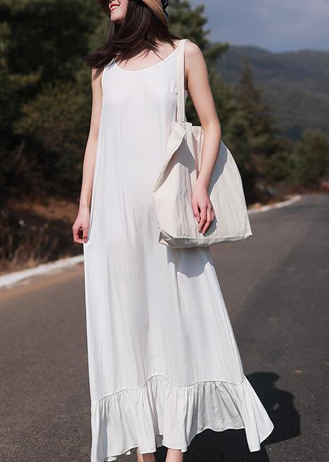 French Sleeveless Ruffles Wardrobes Tutorials White Loose Dresses