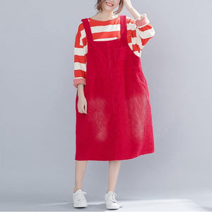French Sleeveless pockets quilting dresses top quality Runway red daily Dress