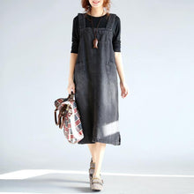 Load image into Gallery viewer, French Spaghetti Strap Cotton clothes Fun Inspiration black denim Knee Dress