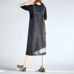 French Spaghetti Strap Cotton clothes Fun Inspiration black denim Knee Dress