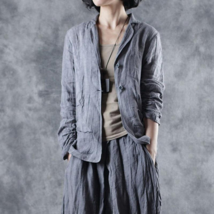French Square Collar linen outwear Inspiration gray long sleeve outwear fall