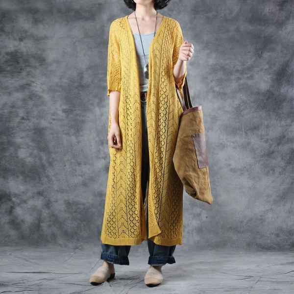 French Wardrobes plus size Linen yellow Solid Half Sleeve V-Neck Hollow Out Coat