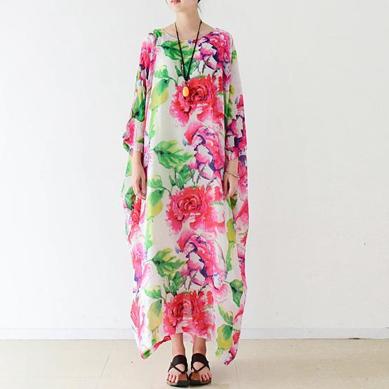 French asymmetric cotton Long dress Women pattern floral Traveling Dress