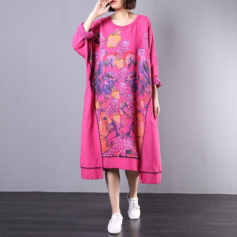 French asymmetric cotton clothes For Women Wardrobes rose o neck prints Maxi Dress fall