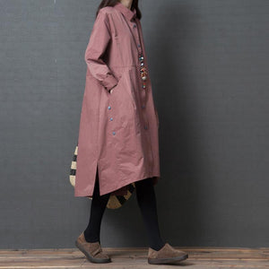 French asymmetric hem Cotton clothes For Women Sweets Wardrobes pink loose Dresses side open