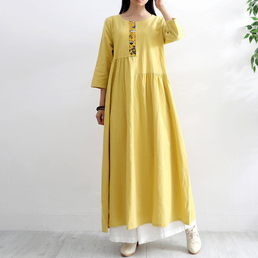French asymmetric patchwork cotton quilting clothes Photography yellow high waist A Line Dress summer