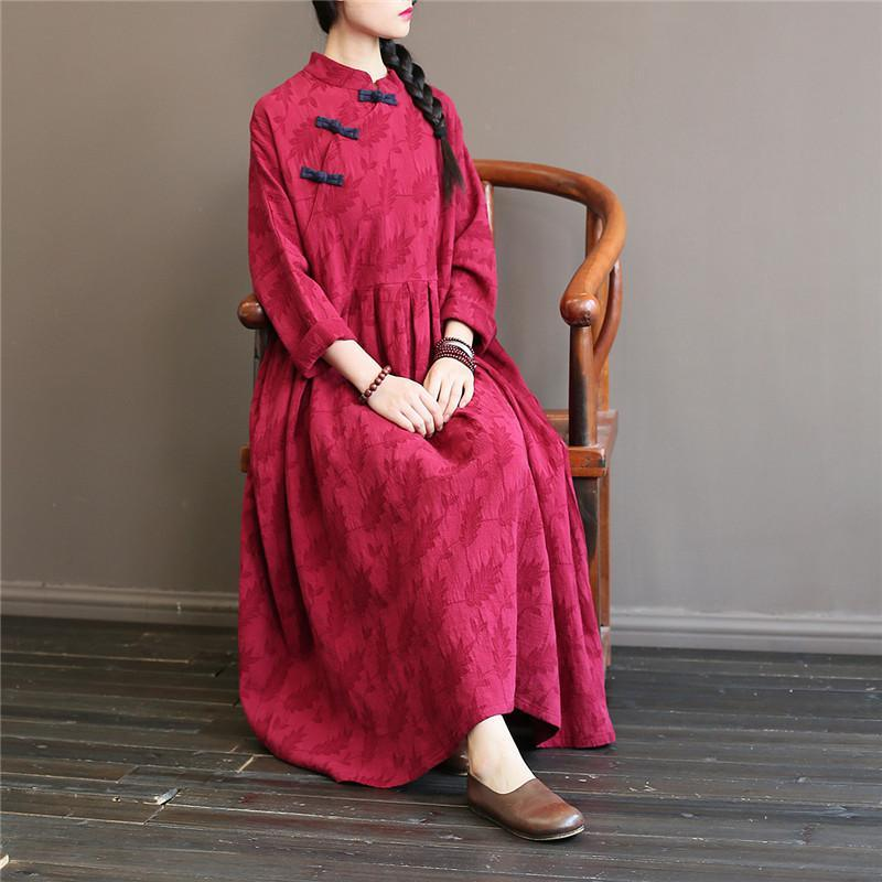 French big hem cotton stand collar quilting dresses Catwalk burgundy cotton robes Dress