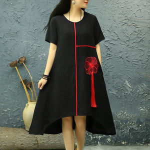 French black embroidery linen outfit o neck tassel oversized summer Dress