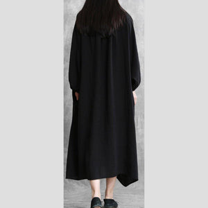 French black linen dress o neck Batwing Sleeve Traveling Dress