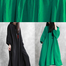 Load image into Gallery viewer, French black linen dress o neck Batwing Sleeve Traveling Dress