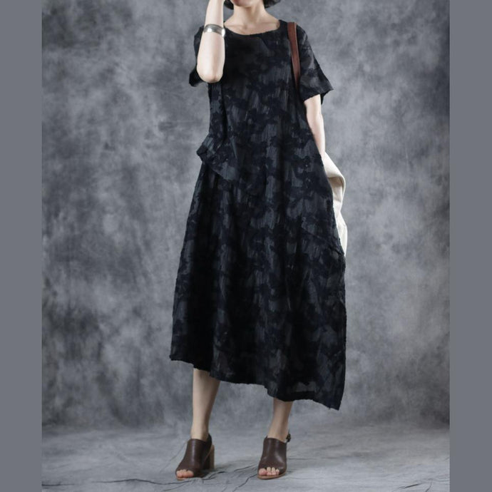 French black outfit o neck patchwork Art summer Dresses