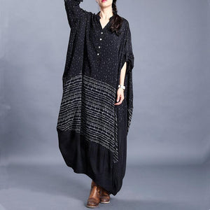French black print outfit v neck asymmetric Vestidos De Lino Dresses