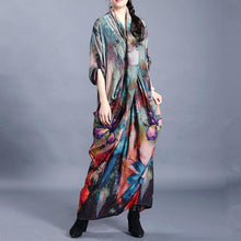 Load image into Gallery viewer, French blue print Long Shirts v neck asymmetric long Dresses