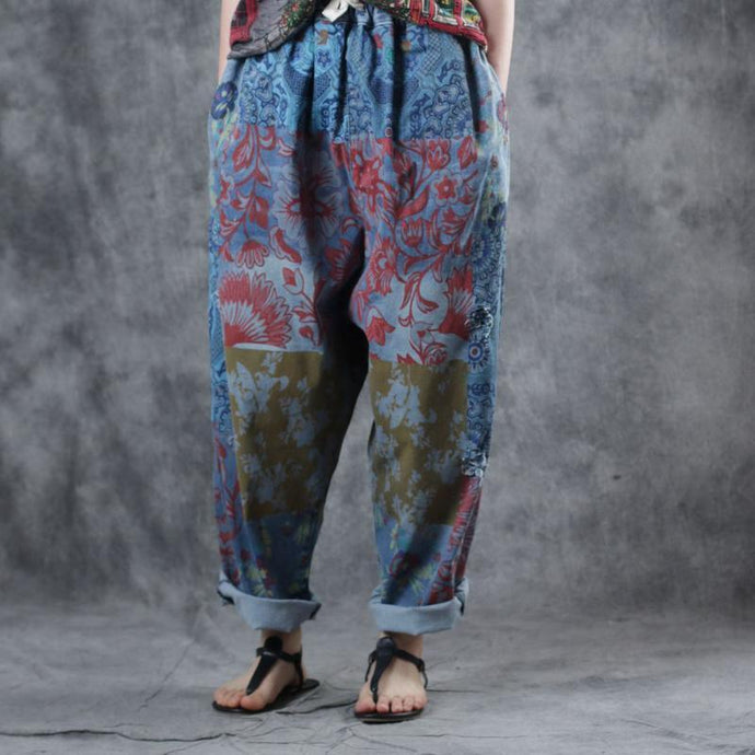 French blue print cotton Long harem pants elastic waist Plus Size summer pant