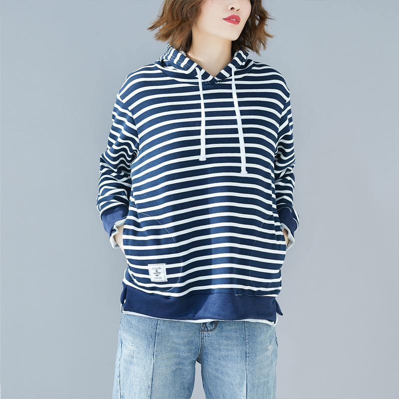French blue striped cotton Blouse Korea Work Outfits hooded drawstring Vestidos De Lino shirt