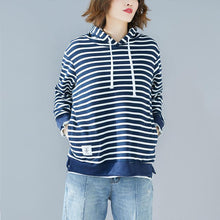 Load image into Gallery viewer, French blue striped cotton Blouse Korea Work Outfits hooded drawstring Vestidos De Lino shirt