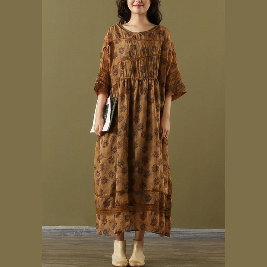 French brown print linen Long o neck patchwork two pieces Maxi summer Dresses
