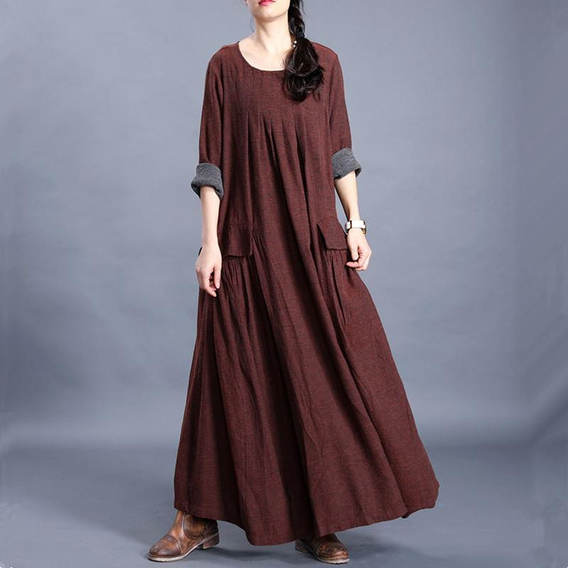 French chocolate linen cotton Long Shirts o neck pockets Maxi spring Dresses