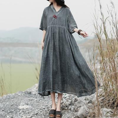 French cotton Half Sleeve Tunics stylish v neck gray Fashion Loose Dress
