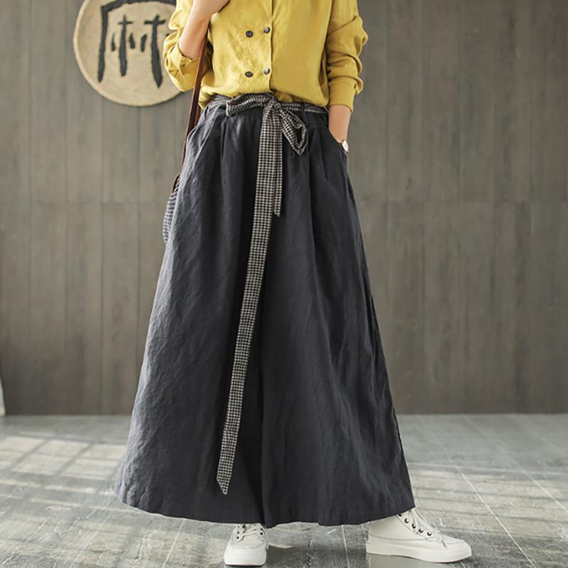 French cotton clothes For Women 18th Century Linen Casual Women Wide Leg Pants