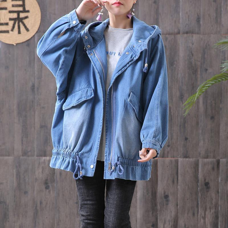 French cotton clothes For Women Organic Denim Hooded Loose Women Casual Coat