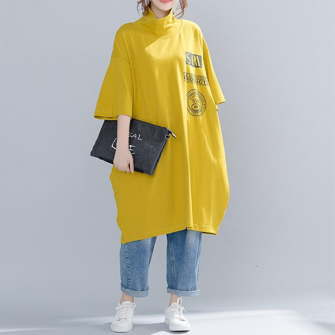 French cotton linen tops women blouses Fitted high neck print Tutorials yellow Plus Size Clothing top spring