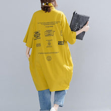 Load image into Gallery viewer, French cotton linen tops women blouses Fitted high neck print Tutorials yellow Plus Size Clothing top spring