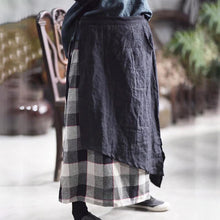 Laden Sie das Bild in den Galerie-Viewer, French cotton skirts Stitches Splice Cotton Linen Spring Lattice Skirt