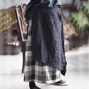 French cotton skirts Stitches Splice Cotton Linen Spring Lattice Skirt